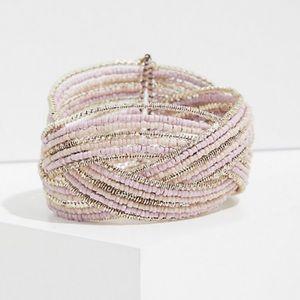 🆕 Silver Tone Beaded Crisscross Cuff Bracelet NWT